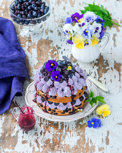 Berry buttercrean cake with berry sponges and berry puree buttrecream