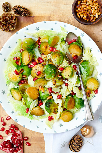 Fried brussels sprouts with pomegranate seeds