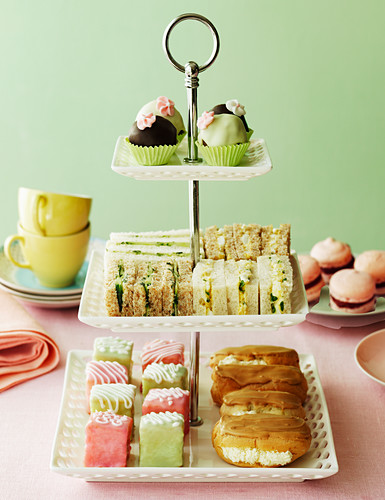Selection of cakes for afternoon tea on a cake stand