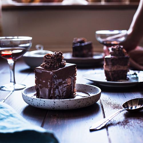 Romanian Amandine layered chocolate cake coffee rum and chocolate filling chocolate topping
