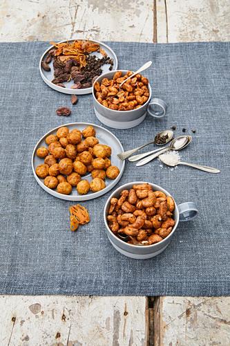 Homemade spiced nuts (peanut, cashew, macadamia)