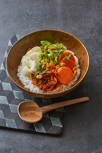 Cod ceviche bowl with kimchi and roasted Brussel sprouts
