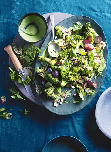 Broccoli, green goddess, grapes and almonds