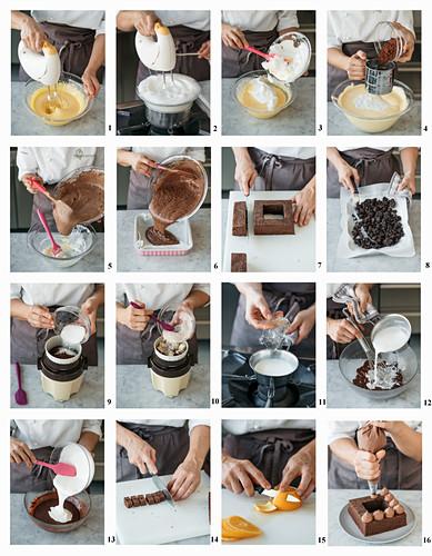 Einen quadratischen Sacherkuchen mit schwarzen Schoko-Trüffeln, Schokoladencreme und Orange backen