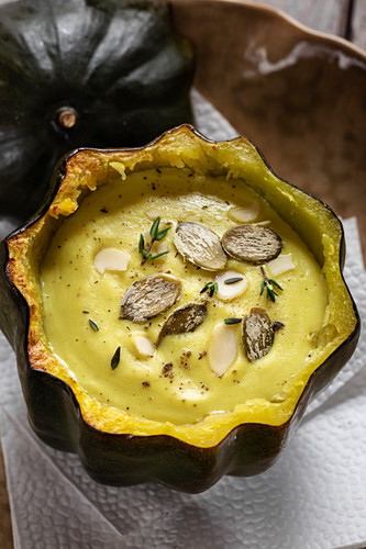Vegan cream soup in an acorn squash