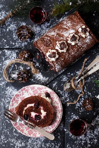 Chocolate Cherry Black Forest Yule Log Cake