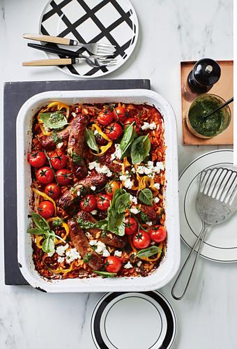Italian sausage and risoni tray bake