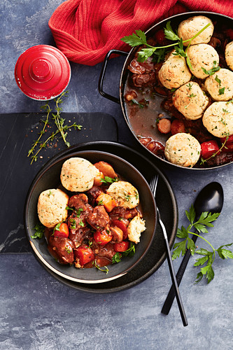 One-pot beef and beer stew with horseradish dumplings