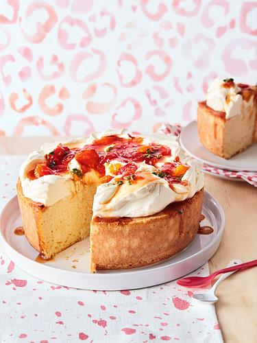Three milk cake with peach and lemon thyme jam