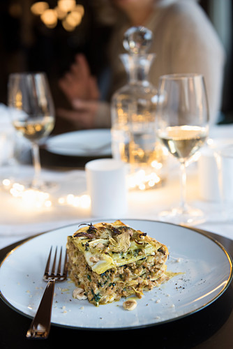 Lasagna with veal, artichokes, jerusalem artichoke and hazelnuts