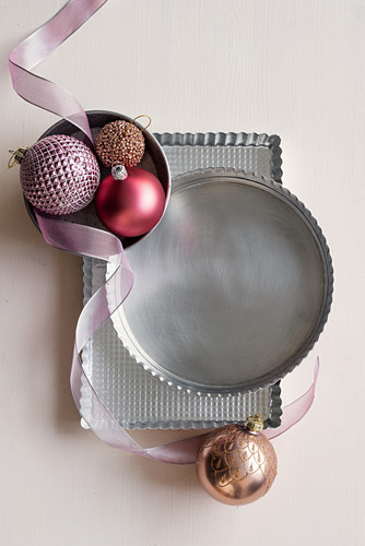 Bakeware and Christmas baubles