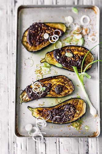Asian style aubergine halves