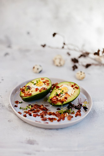 Easter avocados stuffed with quail eggs
