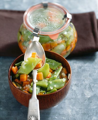 A sweet and sour bean medley with carrots, onions and wine vinegar