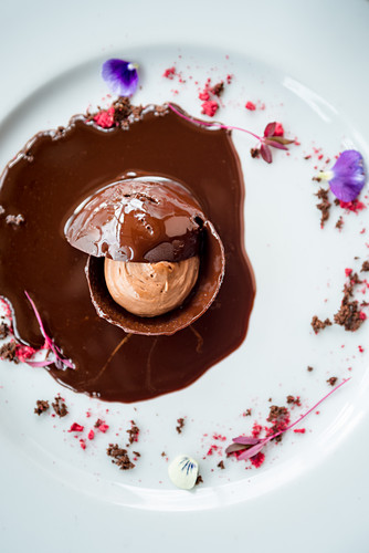 Chocolate mousse in a chocolate egg