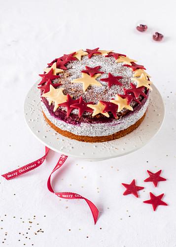A marzipan and poppyseed Christmas cake