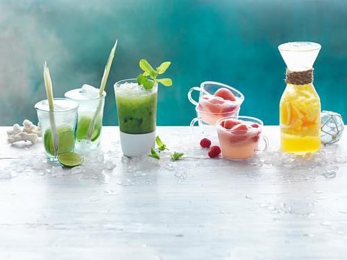 Coconut and Lemon Grass Rum Cocktails, Go-Easy Detox Juice, Raspberry Sorbet Float, Citrus Crush