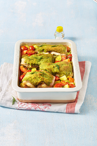 Grilled catfish fillets with a dill crust