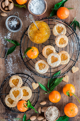 Tangerine jam almond linzer cookies