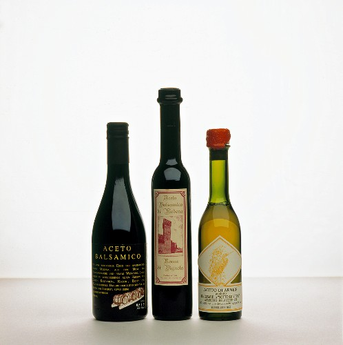 Three Bottles of Assorted Vinegar