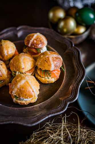 Spiced hot cross buns with salmon and cream cheese for Easter high tea