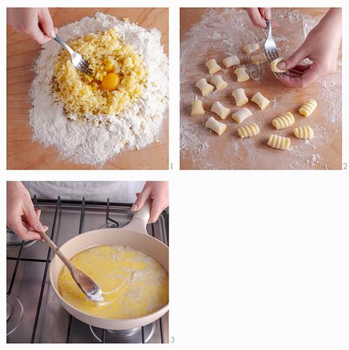 Making gnocchi alla bava (gnocchi with fontina and walnut, Italy)