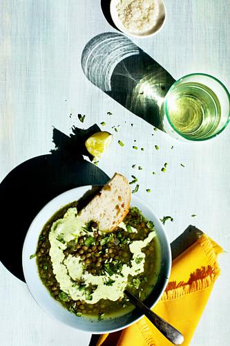 Green Lentil Poblano Soup
