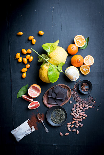 Various citrus fruits, chocolate and cocoa