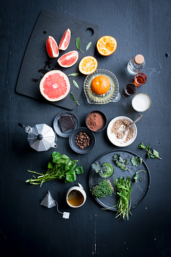 Various citrus fruits, tea, cocoa and herbs
