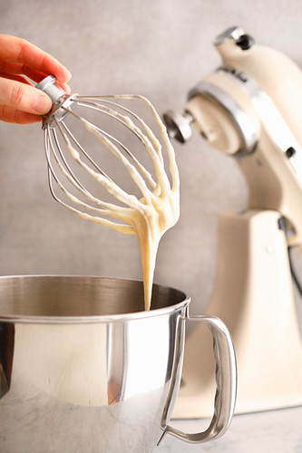 Cake mix in a mixer
