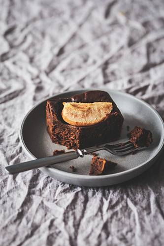 Slice of a pear brownie