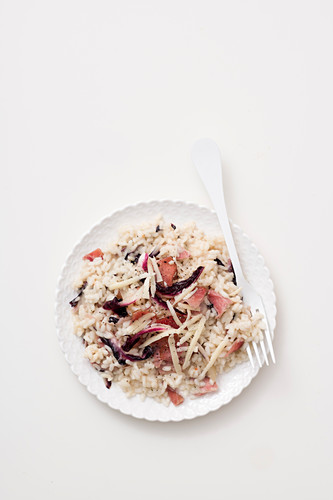 Radicchio risotto with asiago and bacon