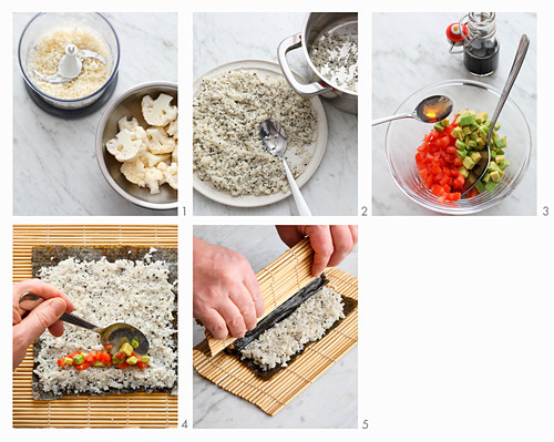 Low-carb sushi rolls being made