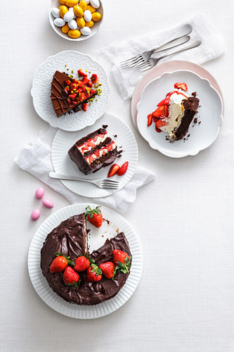 Various chocolate cakes for Easter
