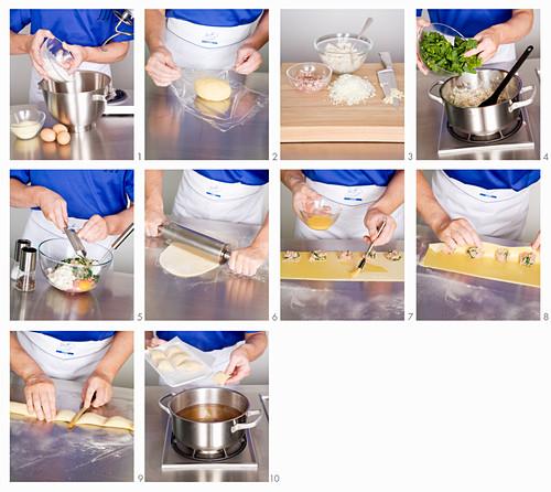 Maultaschen (Swabian ravioli) being made