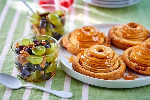 Apple tartlets, and a grape and walnut salad