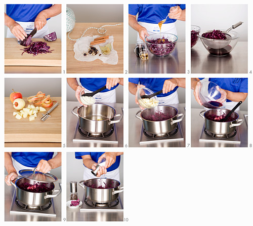Red cabbage with apple being made