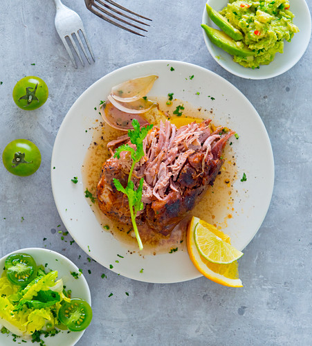 Pulled pork with guacamole and salad