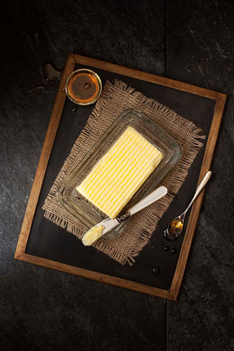 A Block of Butter with Honey