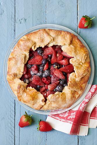 Fruit tart with strawberries, cherries and raspberries