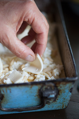 Lasagne with radicchio and asiago cheese in a baking dish