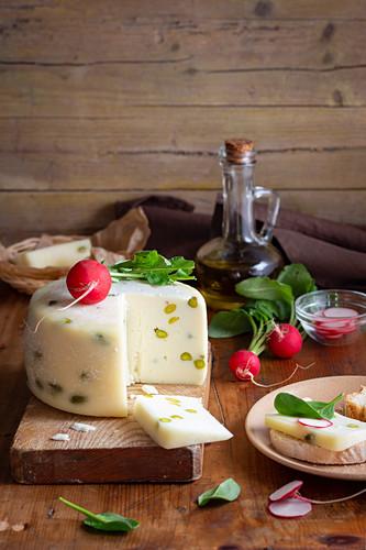 Pecorino cheese and fresh radishes