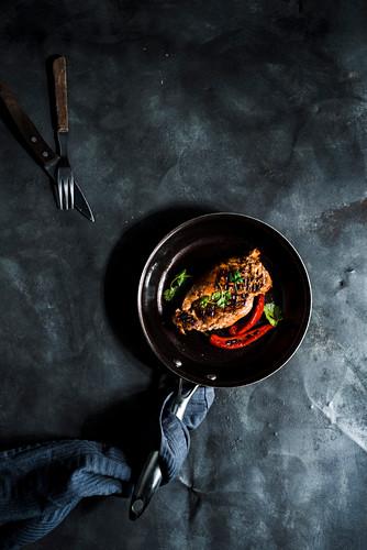 Grilled chicken breast in spicy marinate