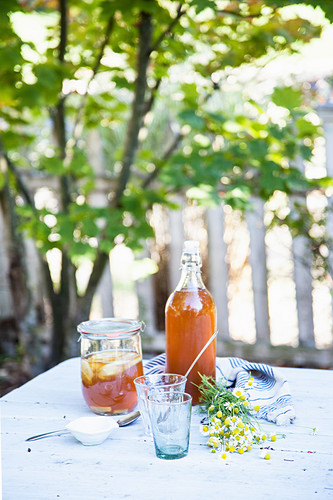 Iced tea with cucumber and lemon on a garden table