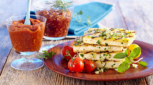 Marinated, grilled tofu with two sauces (cucumber relishes and courgette creme)