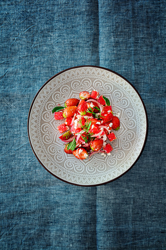Strawberry, watermelon and feta cheese salad (Levant cuisine)