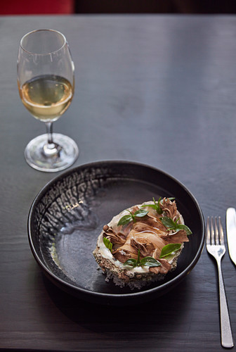 Blacklip abalone with hen-of-the-woods mushroom and roast chicken mayonnaise