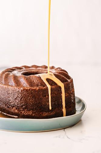 Malva Bundt Pudding (apricot sponge cake with vanilla sauce, South Africa)