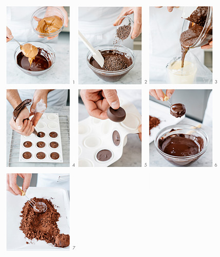 Making hazelnut truffle pralines