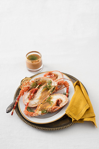 Lobster with vegetable butter sauce